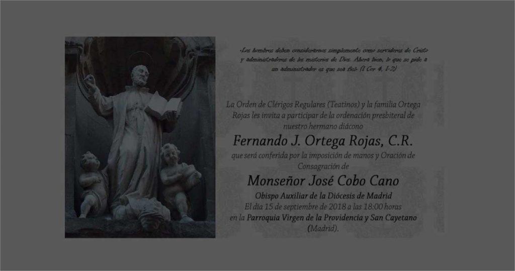 Ordenación presbiteral del R. Diácono D. Fernando Ortega Rojas, C.R.