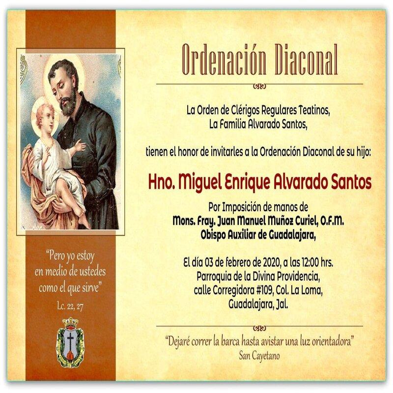 Ordenación Diaconal del Hno. Miguel Enrique Alvarado Santos, C.R.