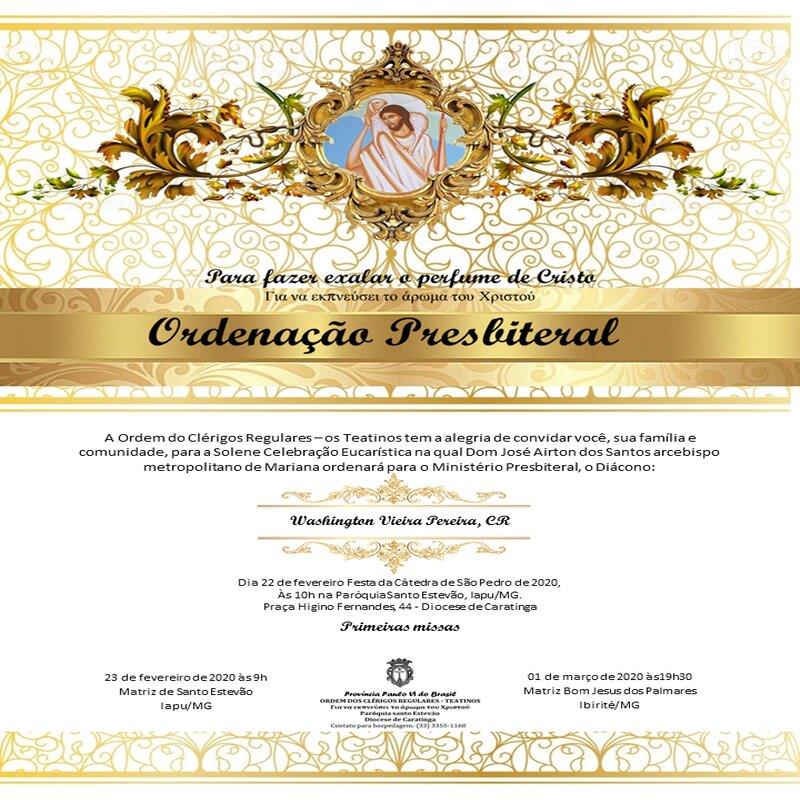Promemoria di Ordinazione presbiterale del diacono Washington Vieira Pereira, C.R.