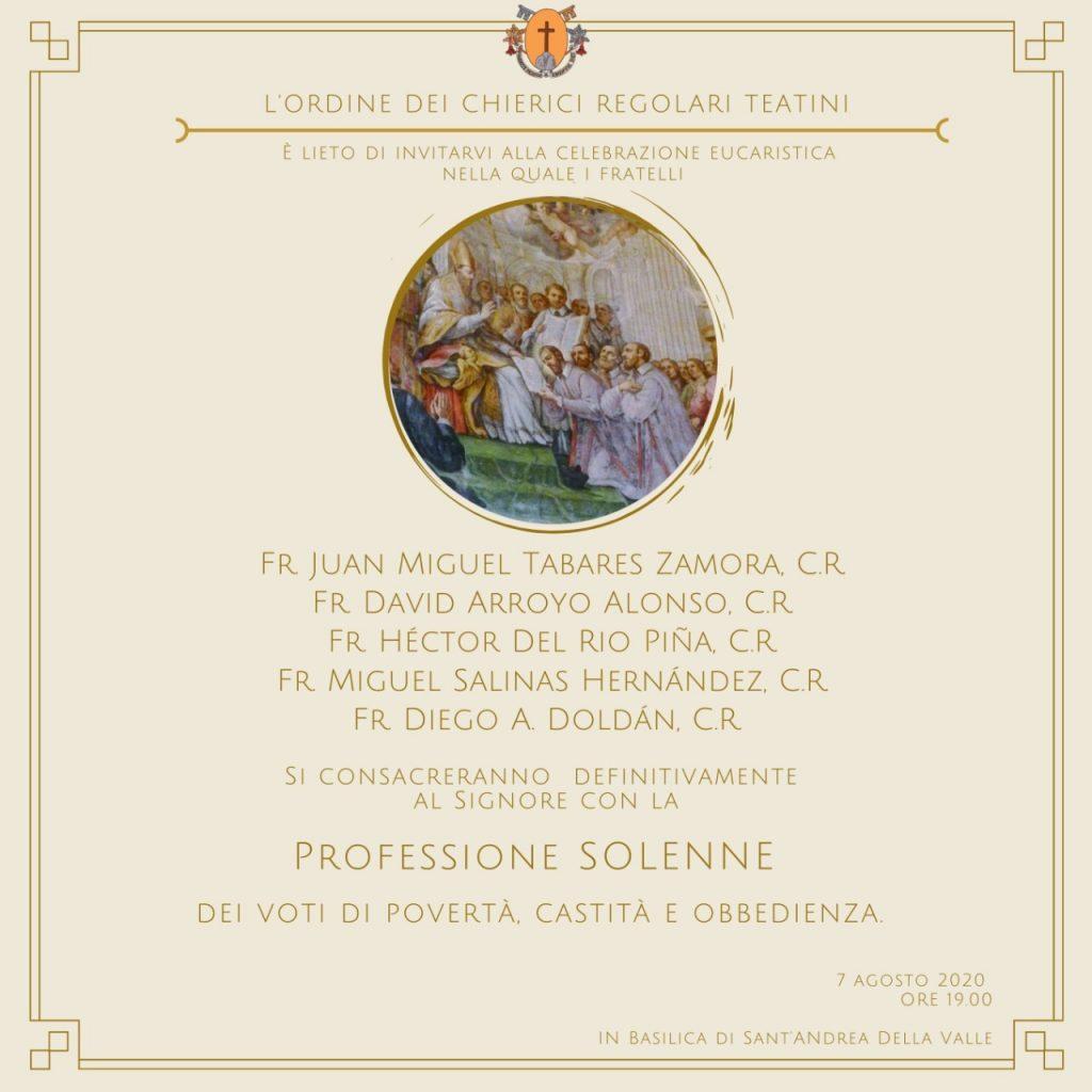 Professioni solenni, nella Solennità di San Gaetano, a Roma